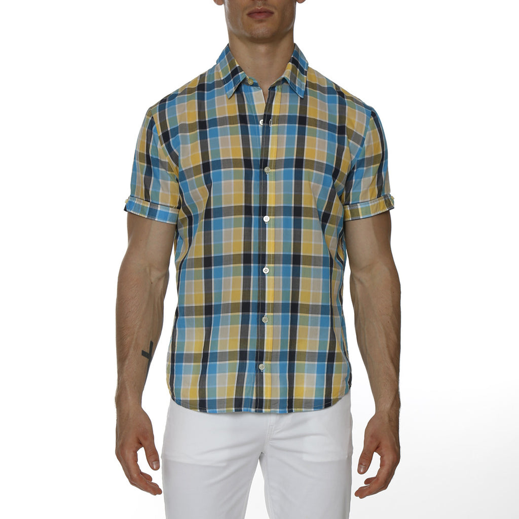 [parke & ronen] Plaid Cotton Voile Short Sleeve Biscayne Shirt - blue/yellow plaid