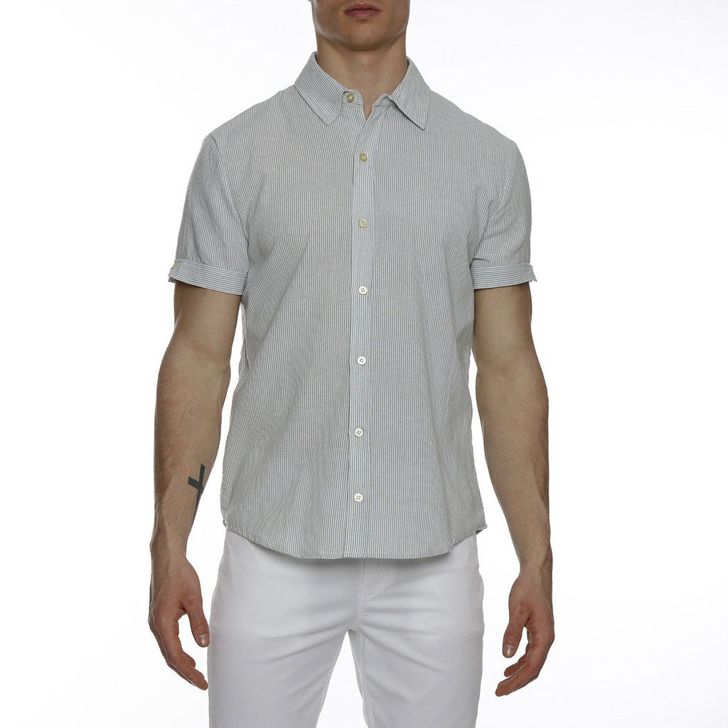 [parke & ronen] Striped Lowell Short Sleeve Shirt - green/white stripe
