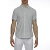 [parke & ronen] Striped Lowell Short Sleeve Shirt - green/white stripe (Thumbnail)