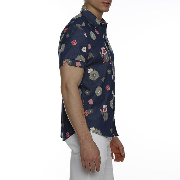 Floral Printed Chambray Short Sleeve Shirt