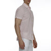 [parke & ronen] Striped Lowell Short Sleeve Shirt - pink/white stripe (Thumbnail)