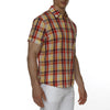 [parke & ronen] Plaid Cotton Voile Short Sleeve Biscayne Shirt - red/yellow plaid (Thumbnail)