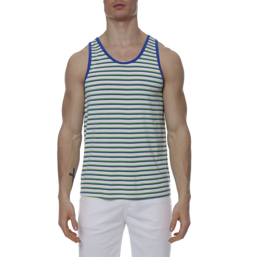 [parke & ronen] Multi. Stripe Stretch Tank Top - kelly/royal stripe