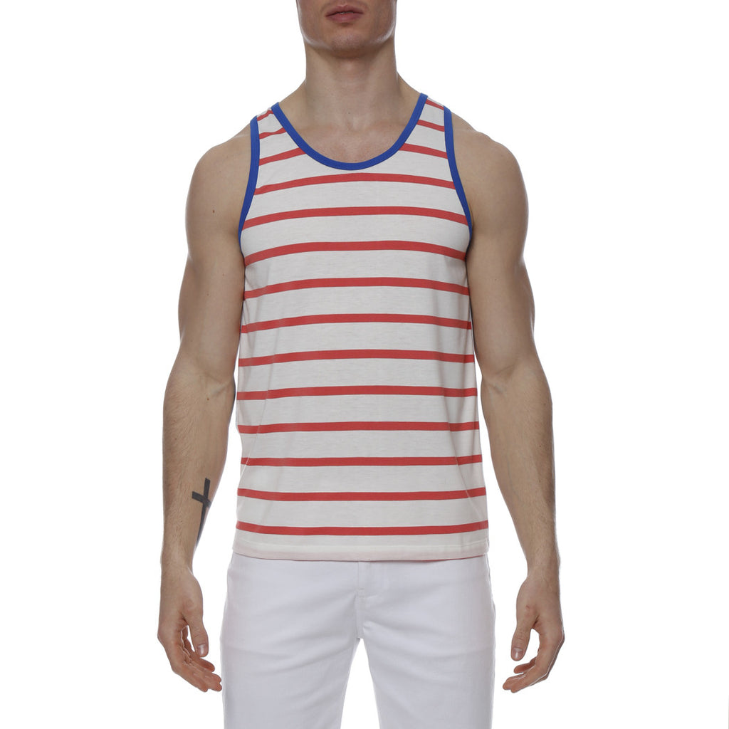 [parke & ronen] Striped Stretch Racer Tank Top - white/flamingo stripe
