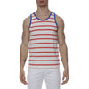 [parke & ronen] Striped Stretch Racer Tank Top - white/flamingo stripe (Thumbnail)