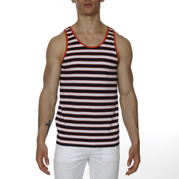 Neon Stripe Piqué Tank Top