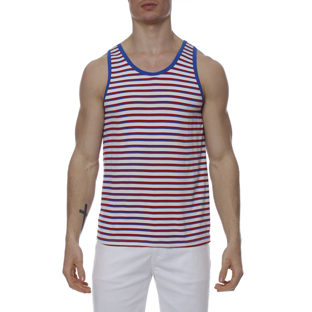 [parke & ronen] Multi. Stripe Stretch Tank Top - red/royal stripe