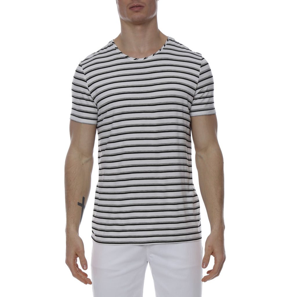 [parke & ronen] Multi. Contrast Stripe Stretch Crewneck Tee - grey/black stripe