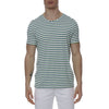 [parke & ronen] Multi. Contrast Stripe Stretch Crewneck Tee - kelly/royal stripe (Thumbnail)