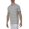 [parke & ronen] Single Color Contrast Stripe Stretch Crewneck Tee - white/grey stripe (Thumbnail)