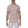 [parke & ronen] Single Color Contrast Stripe Stretch Crewneck Tee - white/flamingo stripe (Thumbnail)