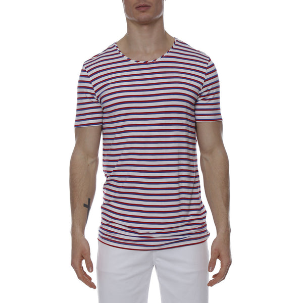 Multi. Contrast Stripe Stretch Crewneck Tee