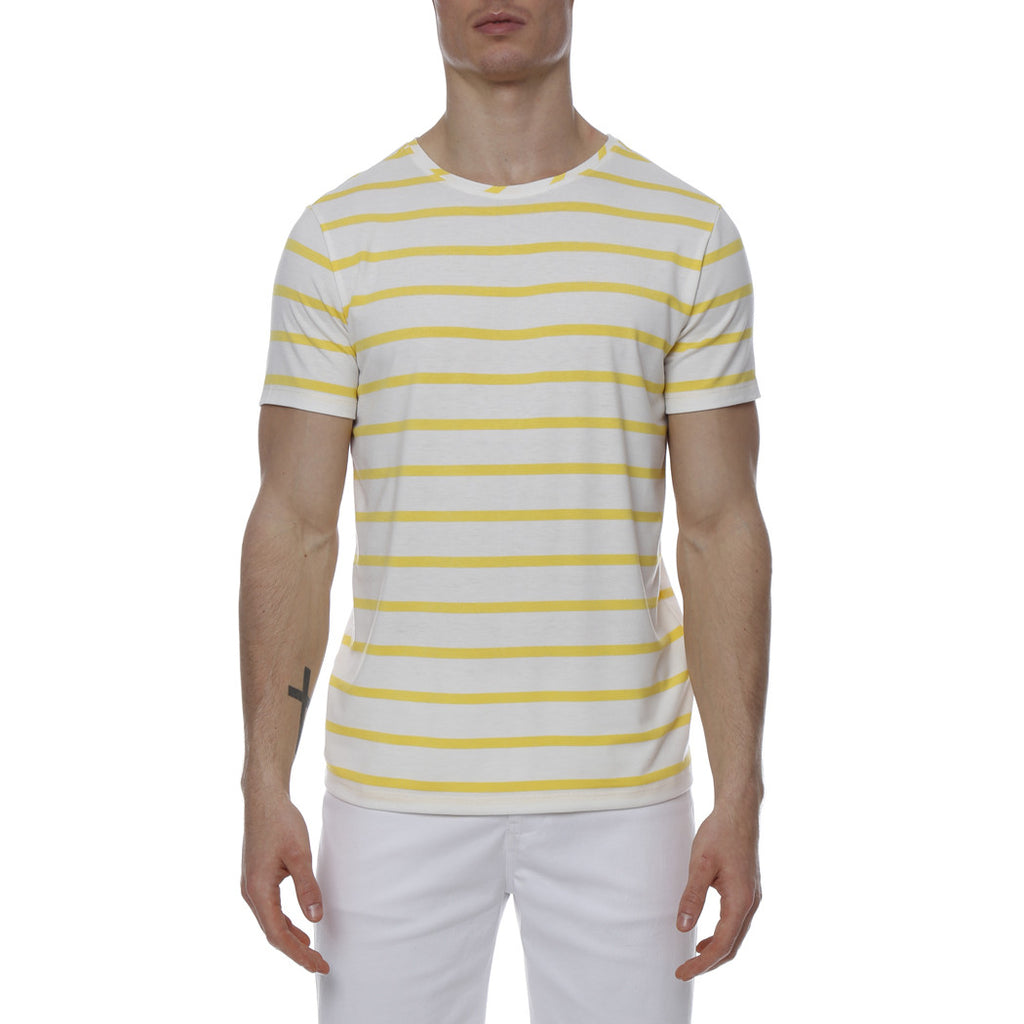 [parke & ronen] Single Color Contrast Stripe Stretch Crewneck Tee - white/canary stripe
