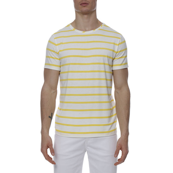 Single Color Contrast Stripe Stretch Crewneck Tee