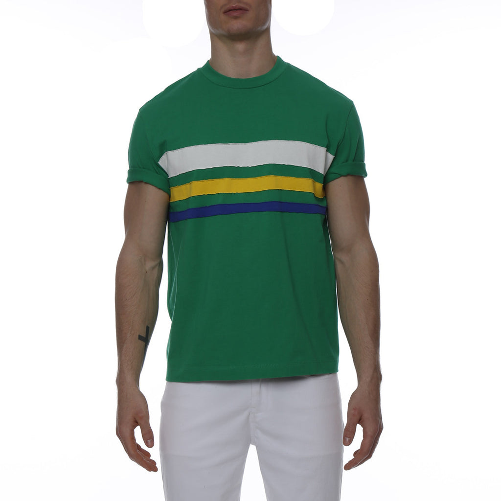 [parke & ronen] Bold Contrast Striped Beefy Jersey Palma Crewneck Tee - green