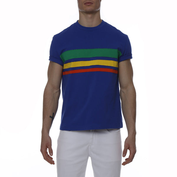 Bold Contrast Striped Terry Knit Palma Crewneck Tee