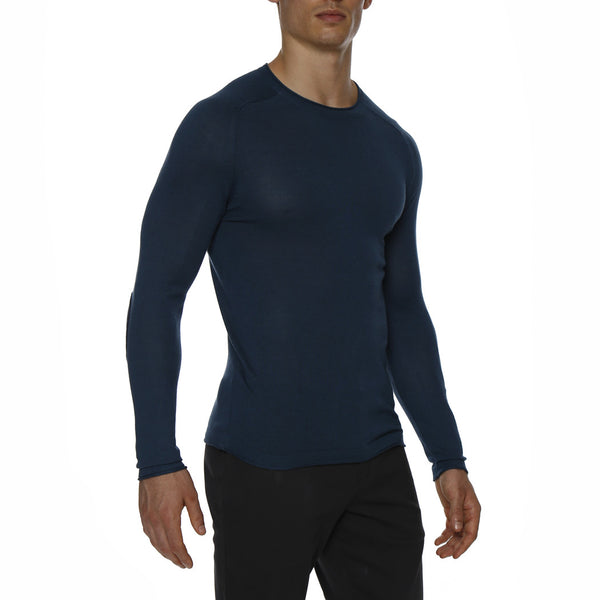 Solid Long Sleeve Knit Crewneck Tee w/ Contrast Elbow Patch