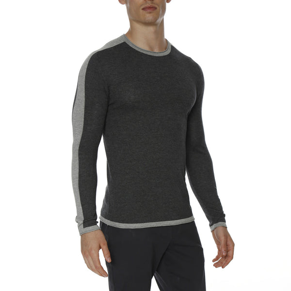 Solid Long Sleeve Knit Crewneck Tee w/Contrast Racer Stripes