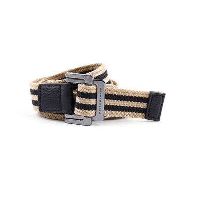 Beige/Black Double Stripe Battalion D-Ring Belt - parke & ronen