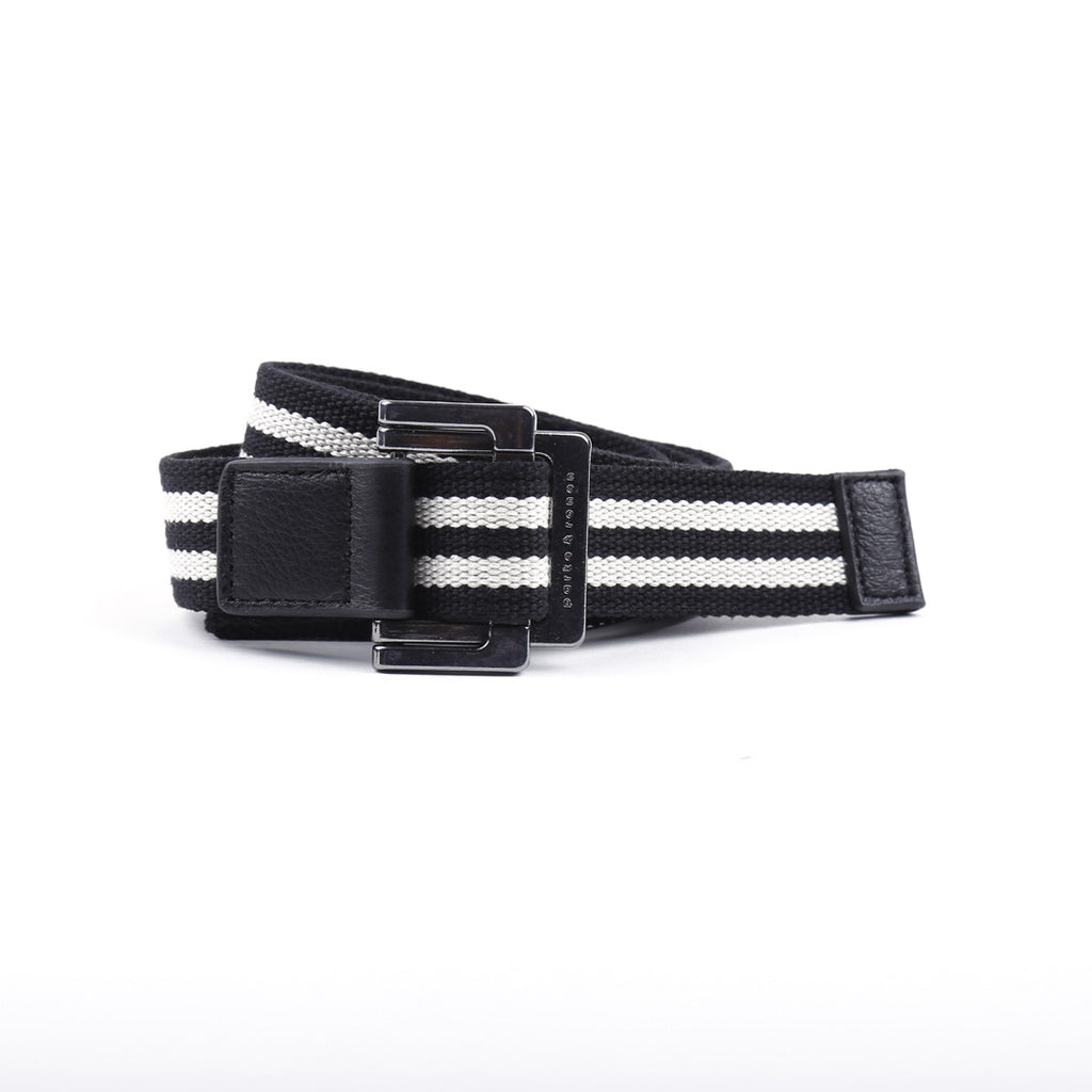 [parke & ronen] Double Stripe Battalion D-Ring Belt - black/white stripe