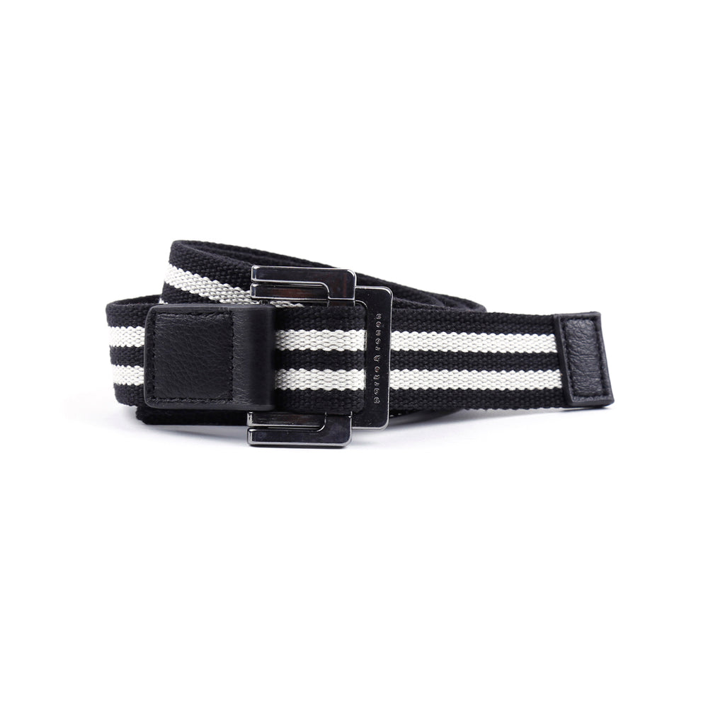 [parke & ronen] Black/White Double Stripe Battalion D-Ring Belt - Black/White Double Stripe Battalion D-Ring Belt