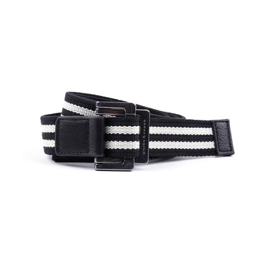 Black/White Double Stripe Battalion D-Ring Belt - parke & ronen