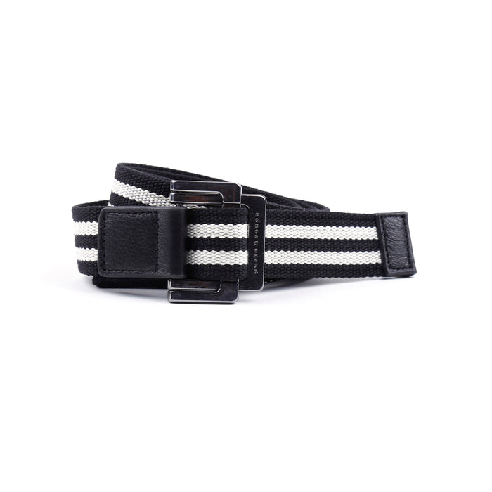 Black/White Double Stripe Battalion D-Ring Belt