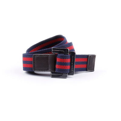 Navy/Red Double Stripe Battalion D-Ring Belt - parke & ronen