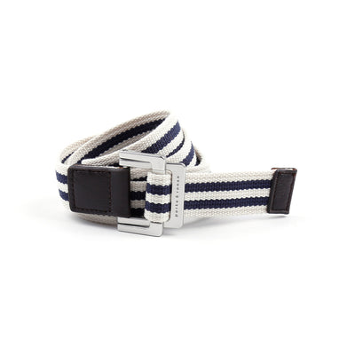 White/Navy Double Stripe Battalion D-Ring Belt - parke & ronen