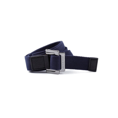 Navy Solid Battalion D-Ring Belt - parke & ronen