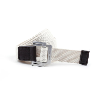 White Solid Battalion D-Ring Belt - parke & ronen