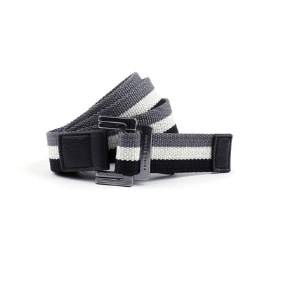 Black/White/Charcoal Triple Stripe Battalion D-Ring Belt - parke & ronen
