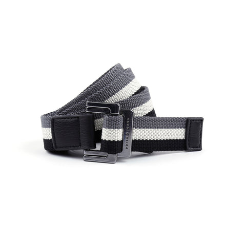 Black/White/Charcoal Triple Stripe Battalion D-Ring Belt