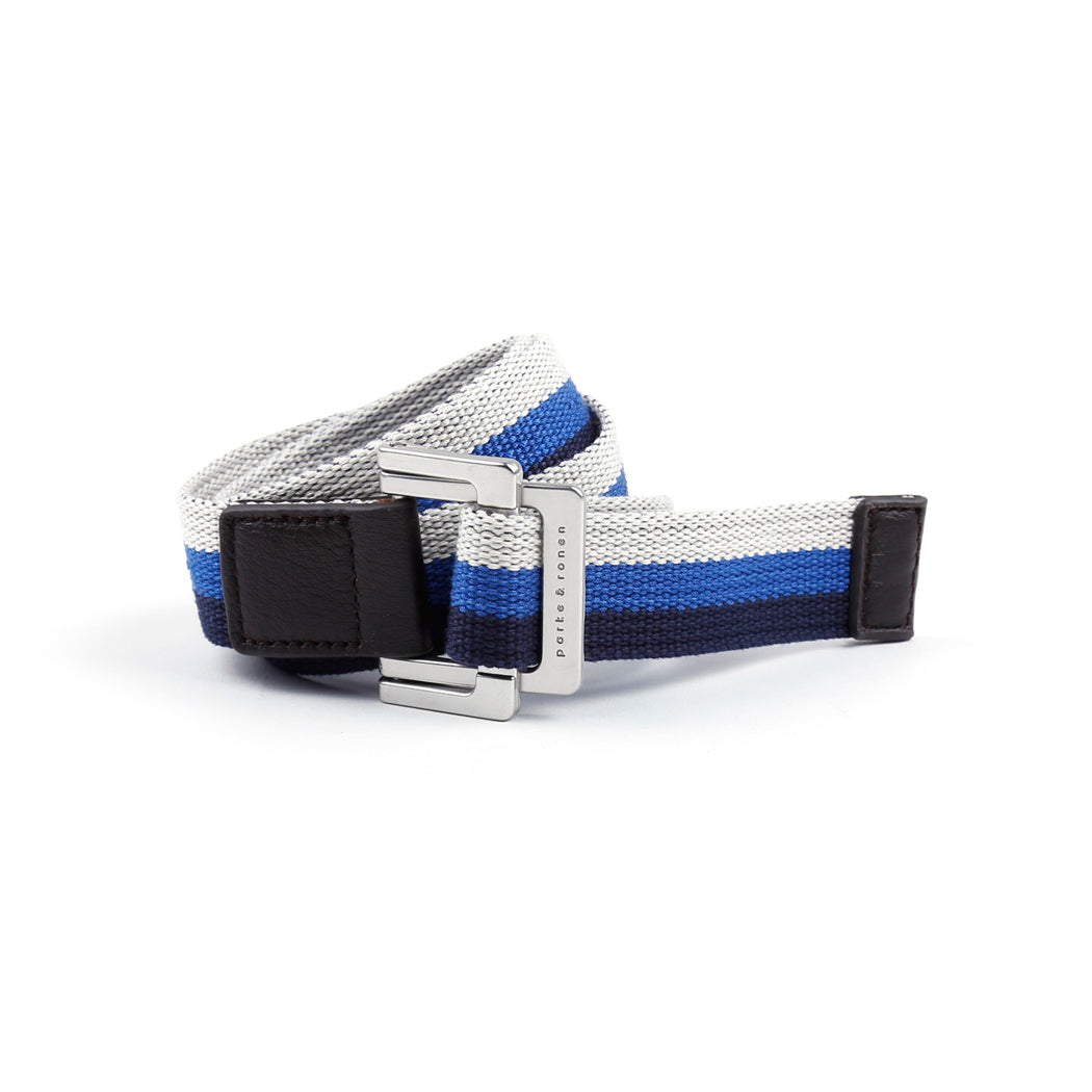 Navy/Royal/White Triple Stripe Battalion D-Ring Belt