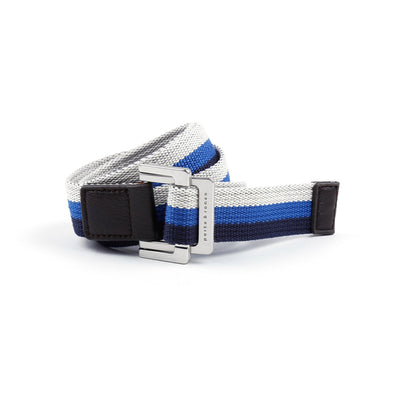 Navy/Royal/White Triple Stripe Battalion D-Ring Belt - parke & ronen
