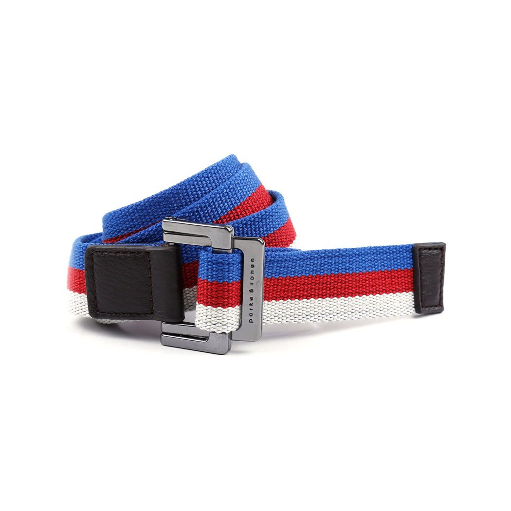 Royal/Red/White Triple Stripe Battalion D-Ring Belt