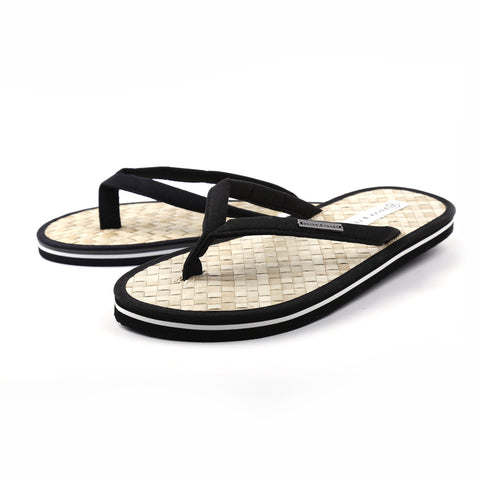 BLACK Coconut Beach Flip Flops w/ Contrast Striped Sole - parke & ronen