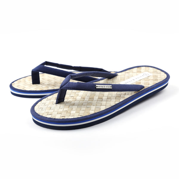 Navy Coconut Beach Flip Flops w/ Contrast Striped Sole