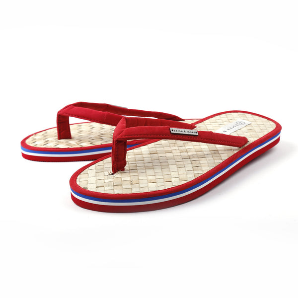Red Coconut Beach Flip Flops w/ Contrast Striped Sole