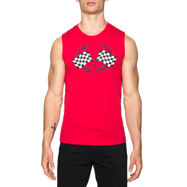 Checkered Flags Screen Print Muscle Tee
