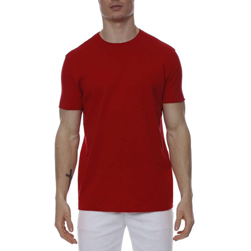 [parke & ronen] Solid Knit Crewneck Tee - red