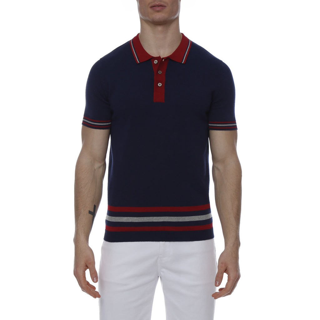 [parke & ronen] Stadium Stripe Knit Polo - navy