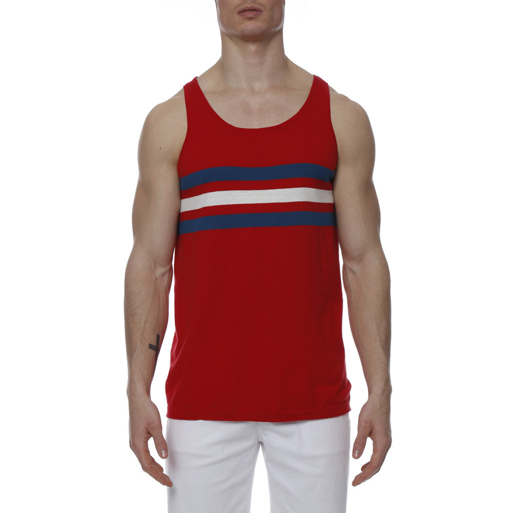 [parke & ronen] Regatta Stripe Knit Tank Top - red