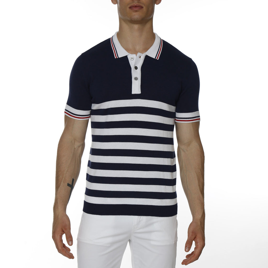[parke & ronen] Sailor Stripe Knit Polo - navy stripe