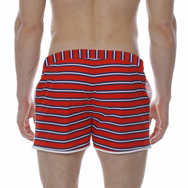 "2"" Oarsman Stripe Print Stretch Angeleno Retro Swim Trunk"