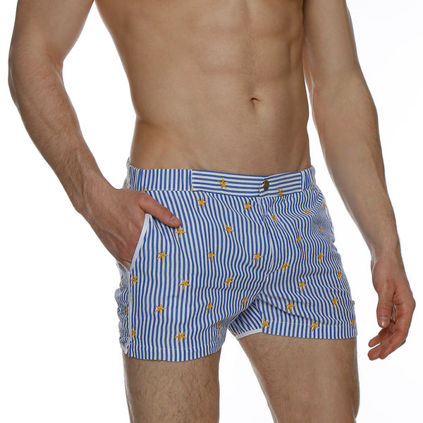 "2"" Embroidered Seersucker Angeleno Retro Swim Trunk"