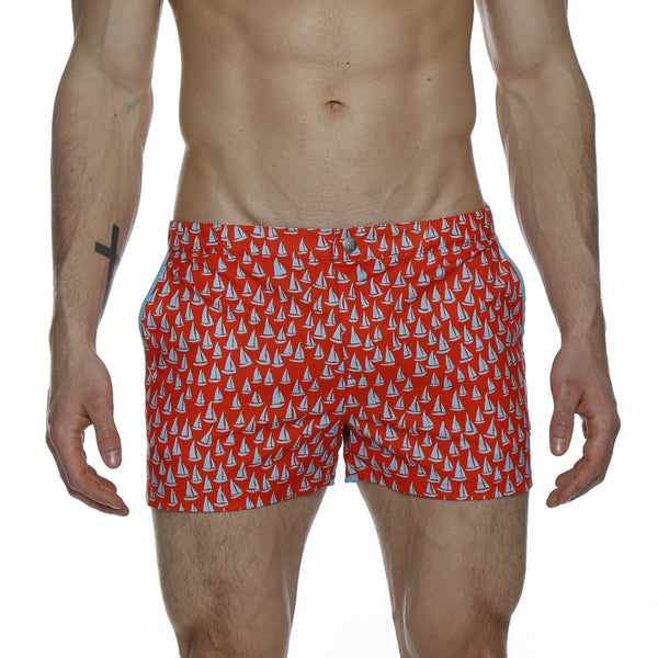 "2"" Spinnaker Print Stretch Angeleno Retro Swim Trunk"