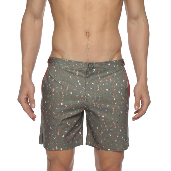 "NEW ARRIVAL- 6"" Clover Print Catalonia Stretch Tailored Swim Trunk"