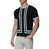 [parke & ronen] Contrast Striped Knit Crewneck Tee - black (Thumbnail)