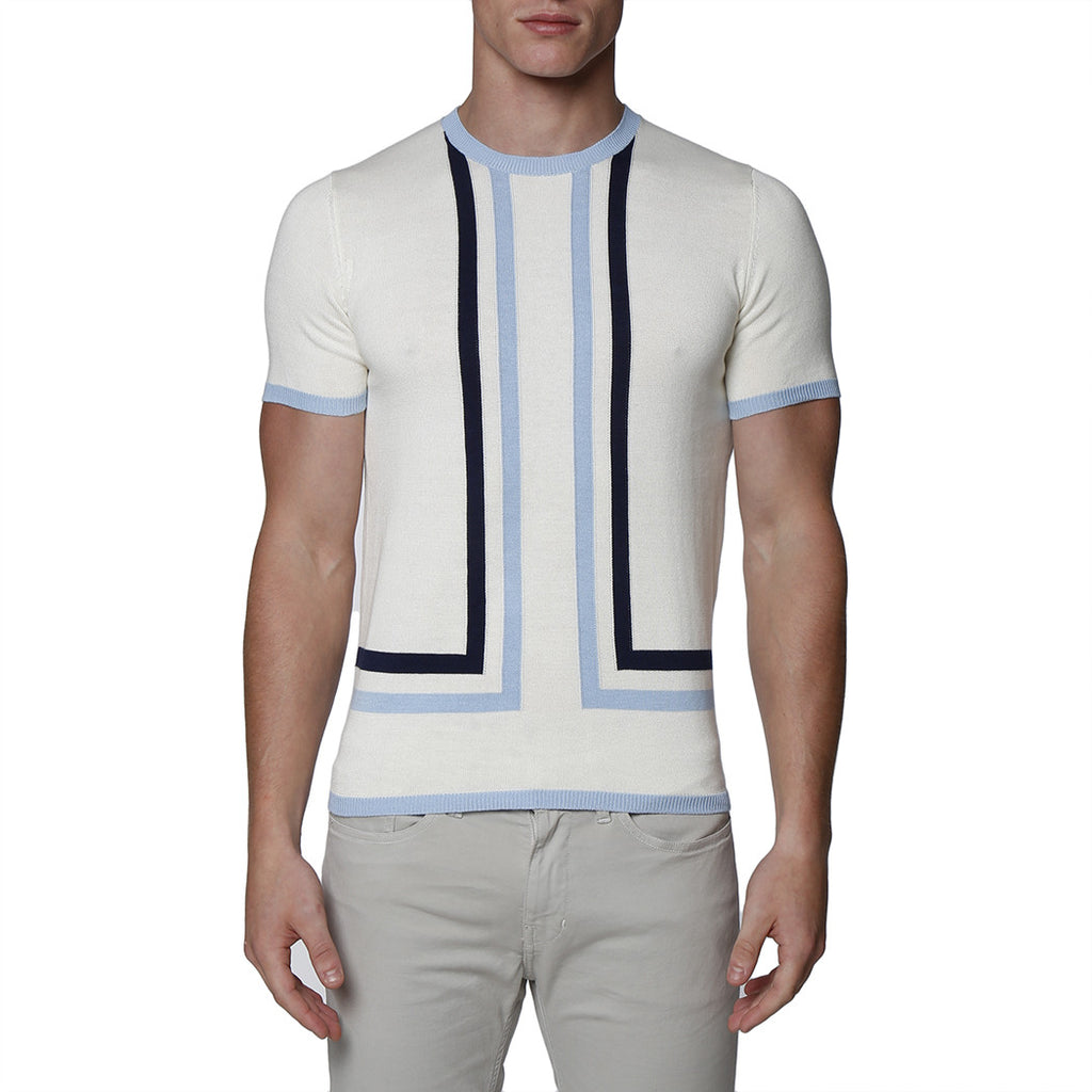 [parke & ronen] Contrast Striped Knit Crewneck Tee - off white
